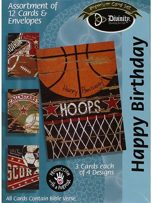 Happy Birthday Cards, Sports, Box of 12