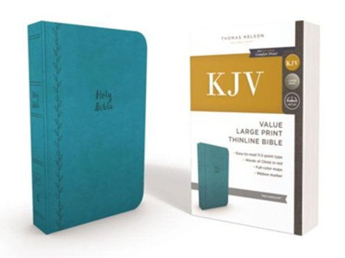 KJV, Value Thinline Bible, Lg. Print, Imitation Leather, Teal, Red Letter Ed.