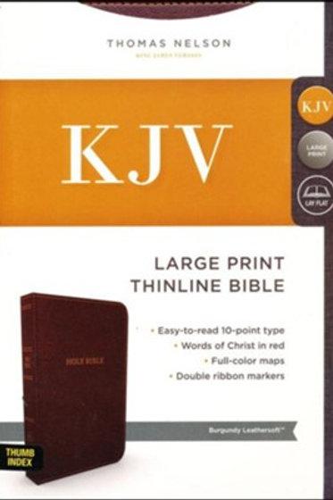 KJV Comfort Series Thinline Bible Large Print Leather Look Burgundy, Indexed