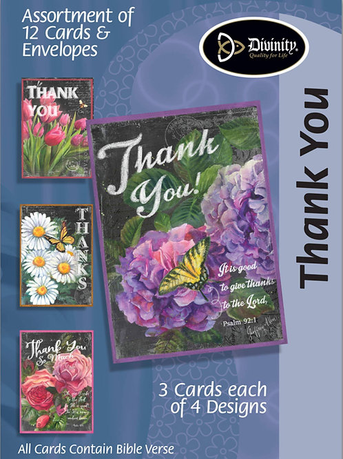 Thank You Cards, NKJV, Chalk & Flowers, Box of 12