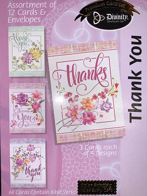 Thank You Cards, NKJV, Pastel Floral, Box of 12