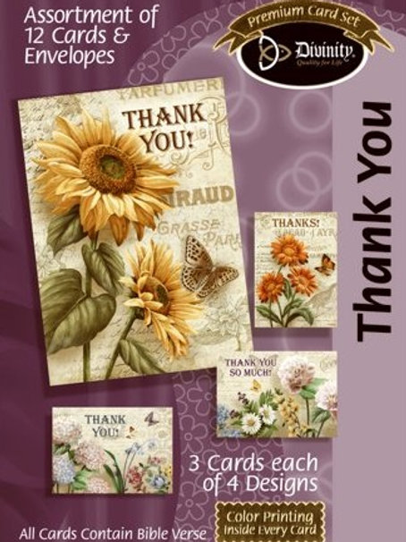 Thank You Cards, KJV, Flowers. Box of 12
