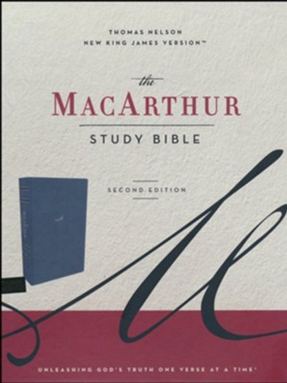 NKJV MacArthur Study Bible, Comfort Print--soft leather-look, navy blue, indexed