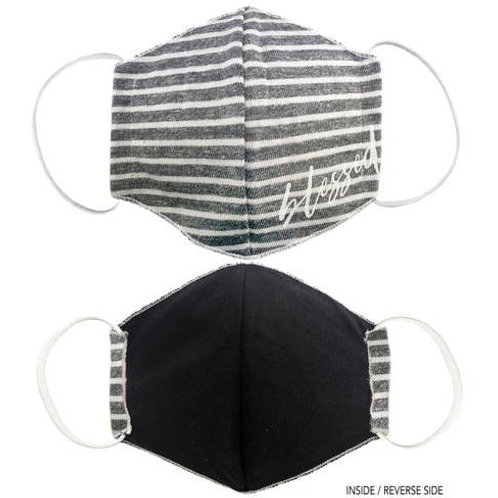 Face Mask Blessed Striped Gray