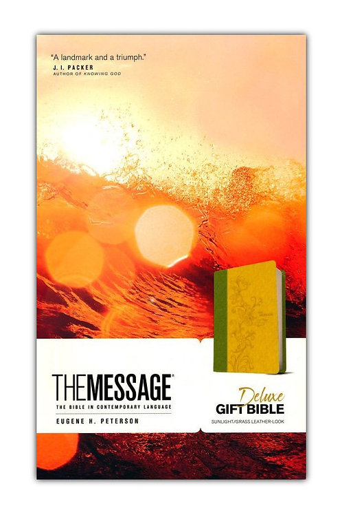 The Message Deluxe Gift Bible, Sunlight/Grass Leather-Look
