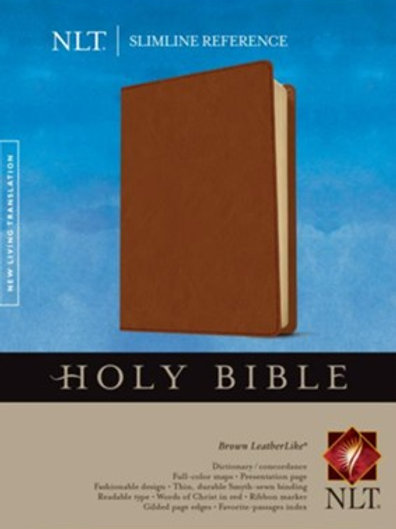 NLT Slimline Reference Bible, Soft leather-look, brown