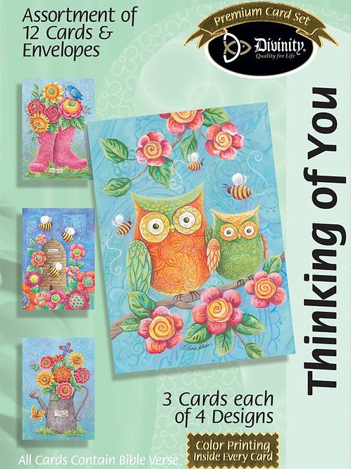 Thinking of You, Owls & Bees, Box of 12