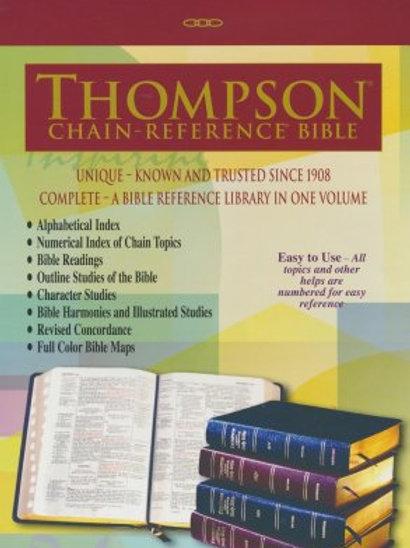 KJV Thompson Chain-Ref. Bible, Lg Print, Burgundy Bonded Leather, Thumb index