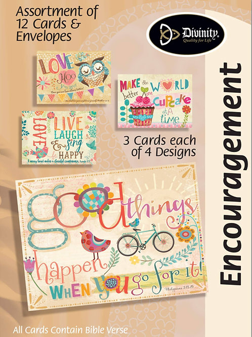 Encouragement Cards, NKJV, Cupcakes, Owls and Birds, Box of 12