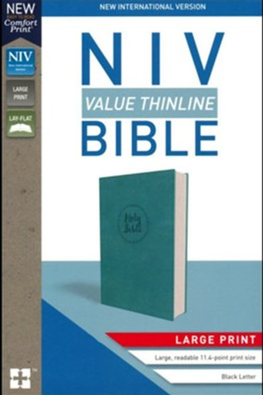 NIV Value Thinline Bible Large Print Turquoise, Imitation Leather