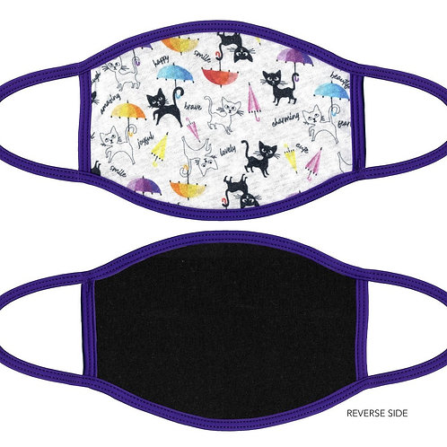 Face Mask Cats with Umbrellas White & Purple