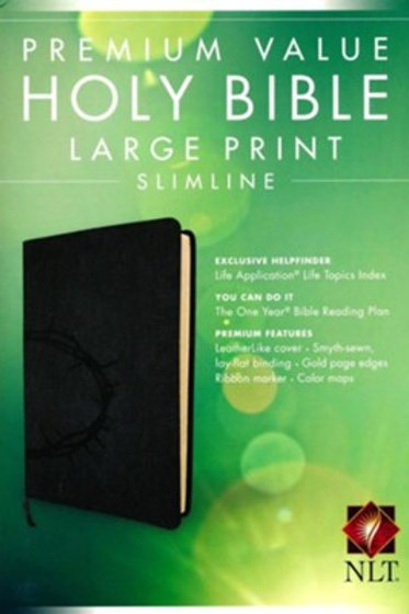NLT Value Slimline Bible LG Print, Imitiation Leather, Onyx w Crown of Thorns
