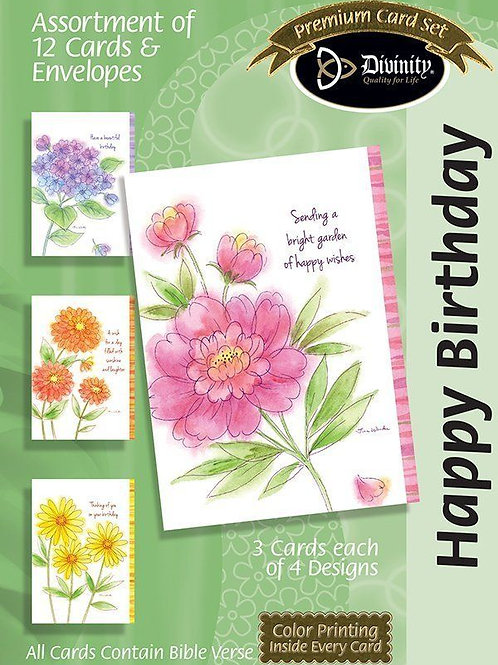 Happy Birthday, KJV, Watercolor Floral, Box of 12