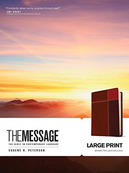 The Message, Large Print, Brown Trio Leather-Look