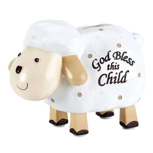 God Bless this Child Baby Lamb Bank