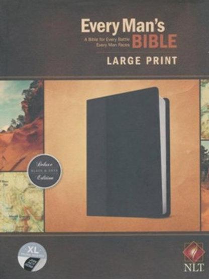 NLT Every Man's Bible, Large Print, TuTone LeatherLike, Onyx, Thumb Indexed