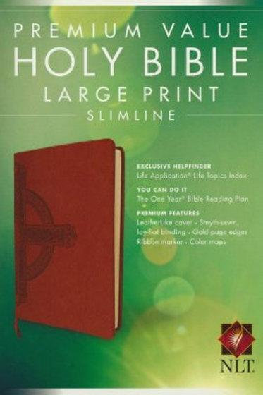 NLT Value Slimline Bible, LG Print, Imitation Leather, Sienna w/ Cross Design