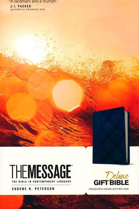 The Message Deluxe Gift Bible, Soft leather-look, crosshatch denim