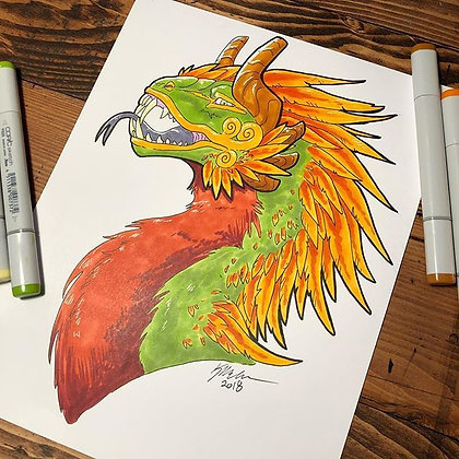 Ancient Feathered Jungle Dragon Print