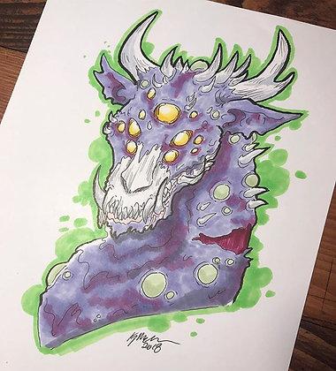 Radioactive Zombie Dragon Print