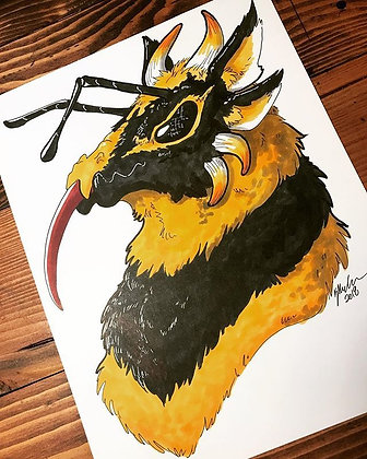 Bee Dragon Print