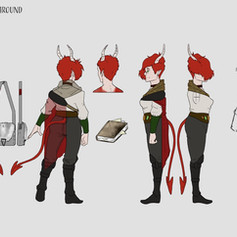 Tiefling Character Turn Around - Outfit Details