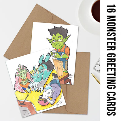 Monsters in Moments Greeting Cards - 16 Blank Cards