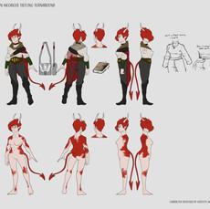 Tiefling Character Turn Around - Full Body Details