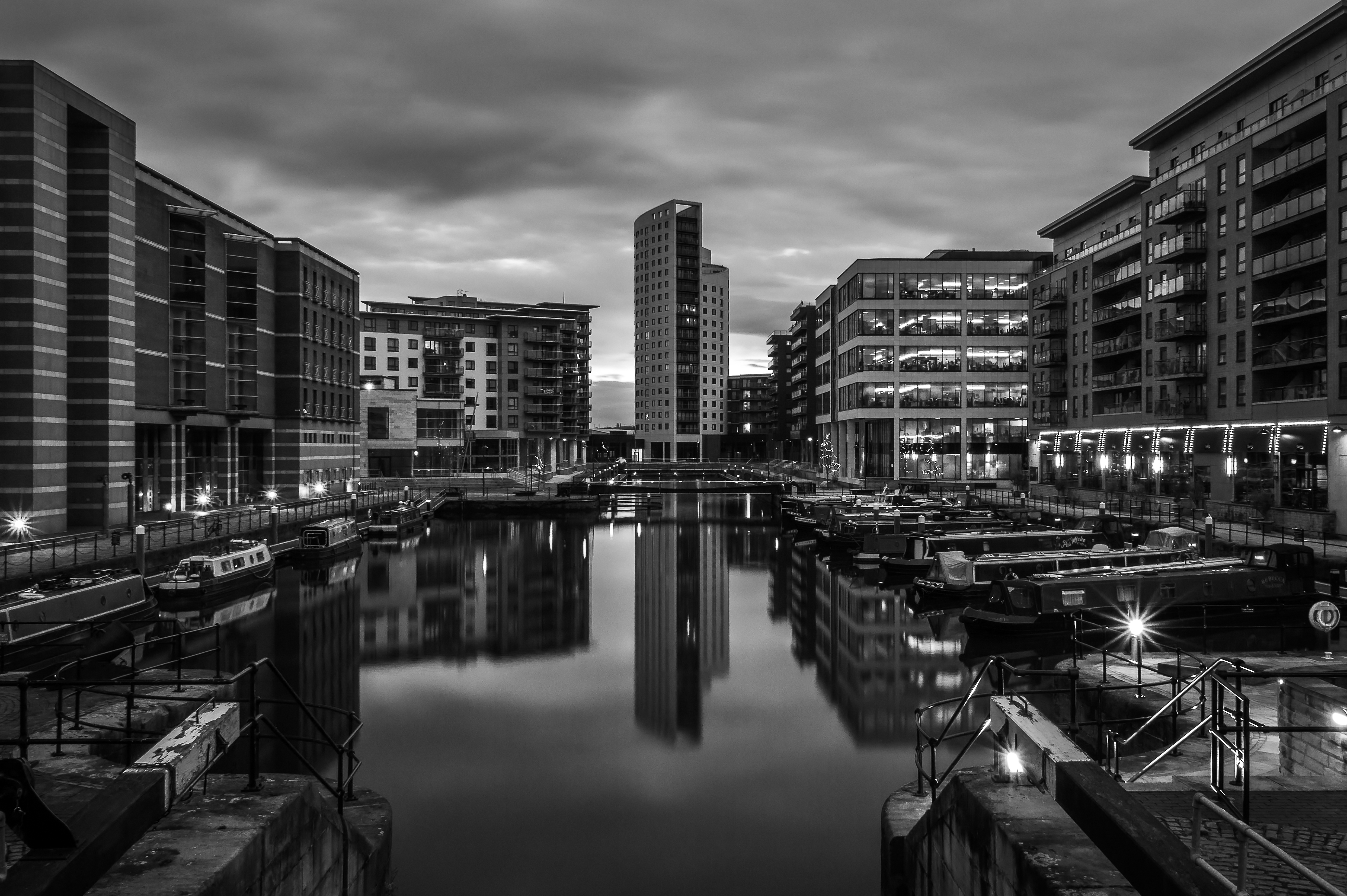 Clarence Dock at Dusk Monochrome