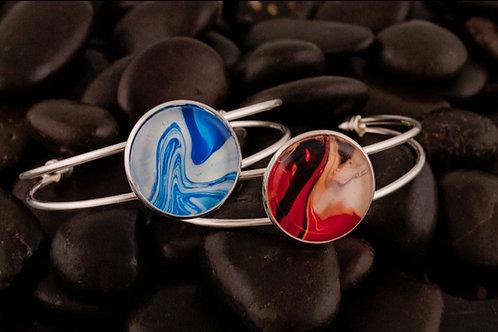 Acrylic Pour Round Pendant Cuff Bracelet