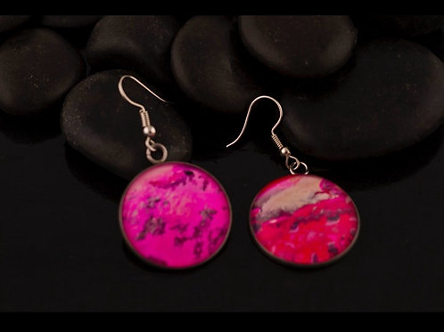 Large Acrylic Pour Round Pendant Earrings