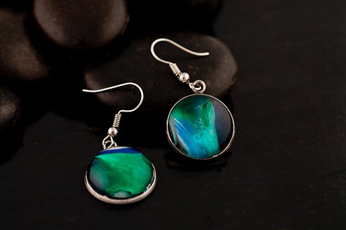 Small Acrylic Pour Round Pendant Earrings
