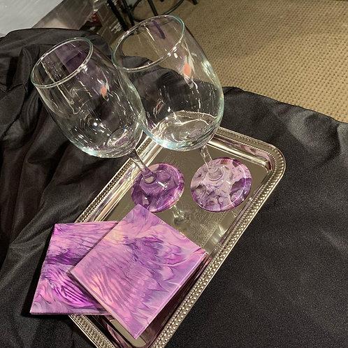 """Custom Wine glass/Coaster Set """"Date Night"""""""