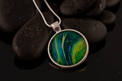 Acrylic pour Jewelry- Round shaped Necklace Pendant
