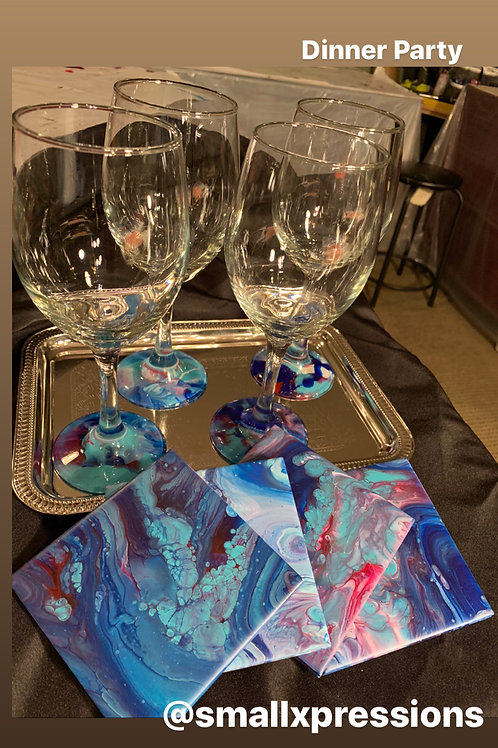 "Custom Wine Glass/Coaster Set ""Dinner Party"""