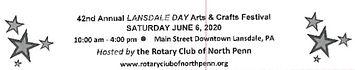 Landsdale Day Arts and Crafts Festival June 6, 2020