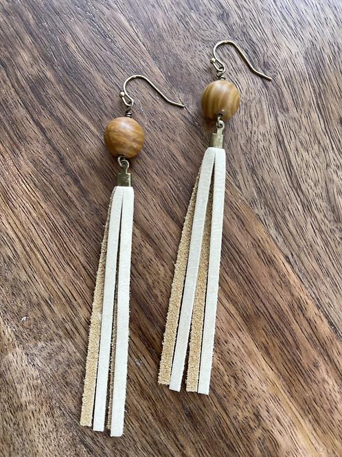 Wood Jasper Minimalist Tassel Earrings