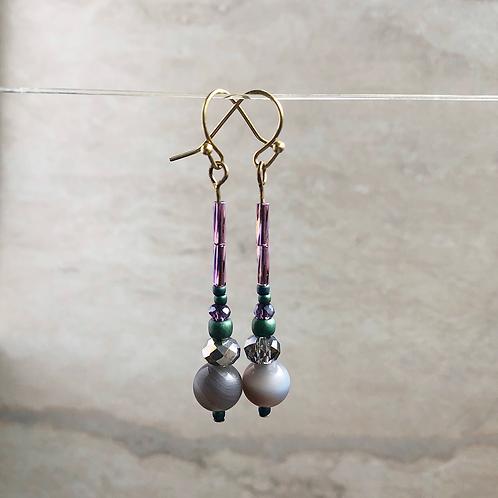 Botswana Agate Simple Drop Earrings