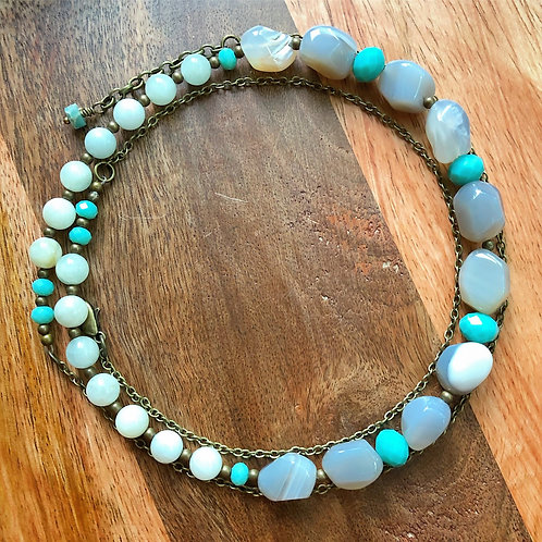 Gray Agate Nugget Necklace