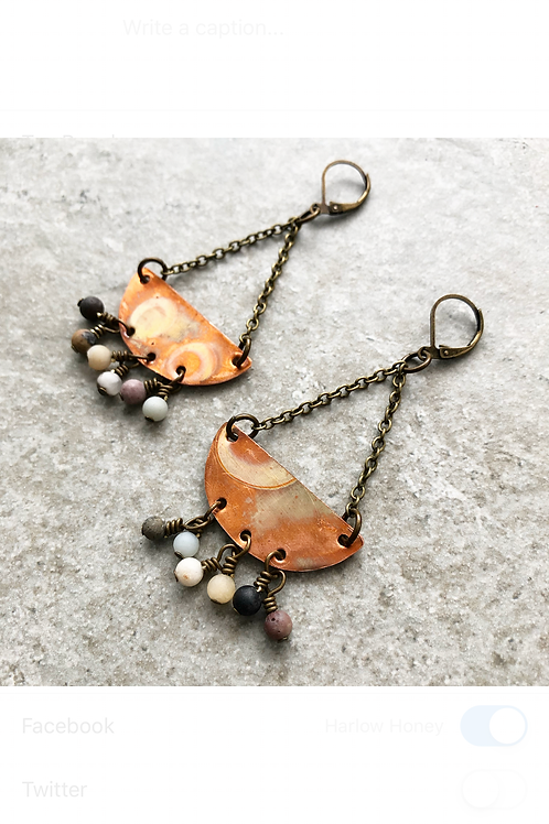 Copper and Amazonite Half Moon Trapeze Earrings