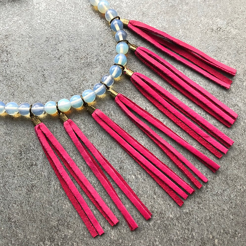Magenta Fringe Bib Necklace