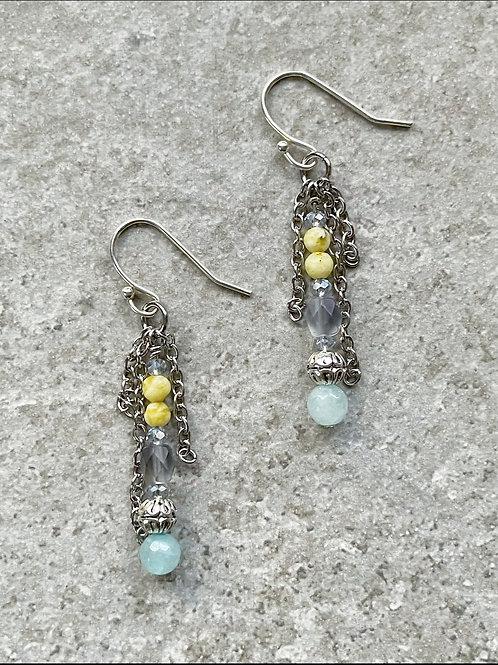 Yellow & Blue Dangle Chain Earrings