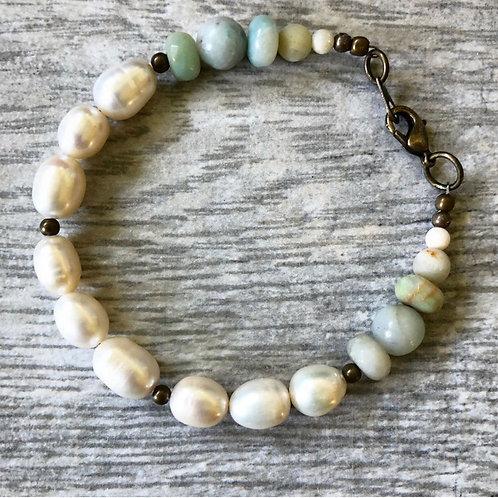 Pearl & Amazonite Bracelet