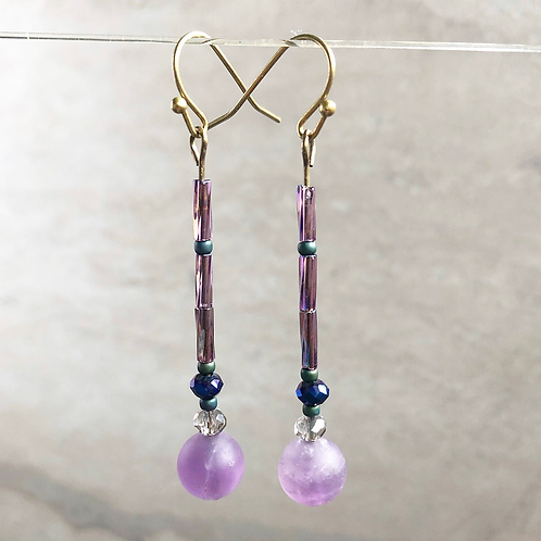 Amethyst Simple Drop Earrings