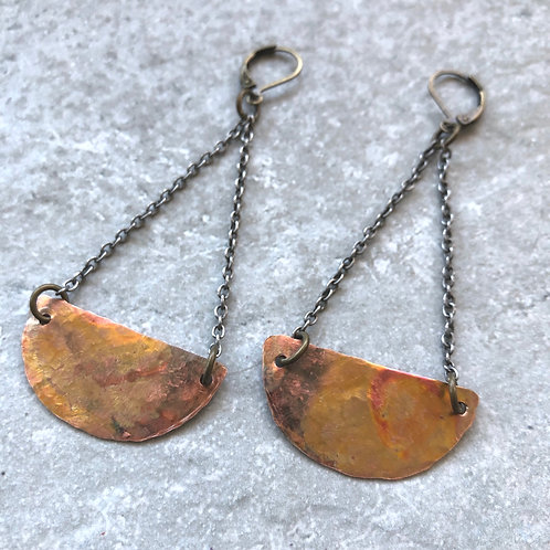 Copper Half Moon Trapeze Earrings