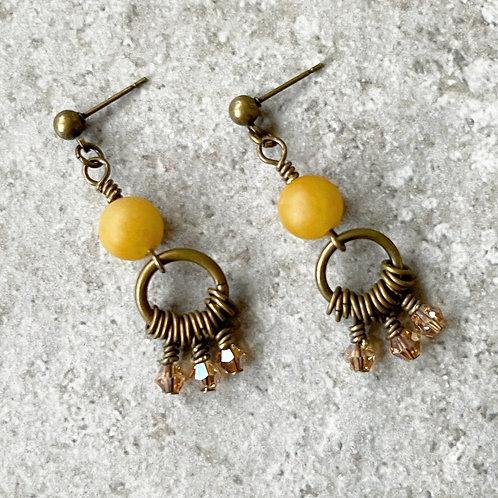 Yellow Jade Modern Cluster Earrings