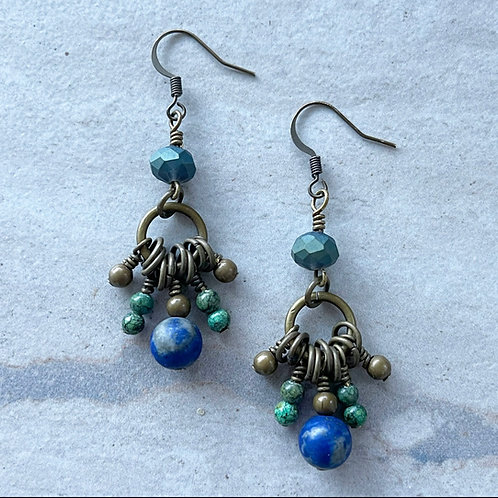Lapis Cluster Earrings