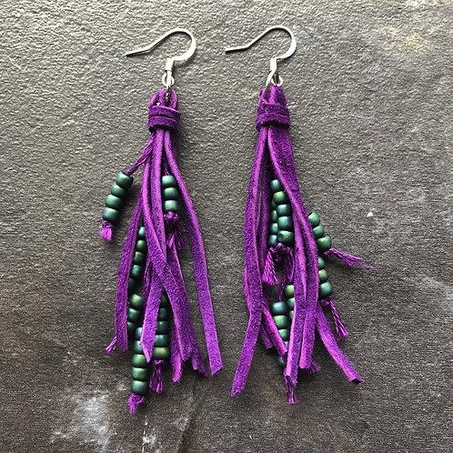 Mini Leather Tassel Earrings - Purple