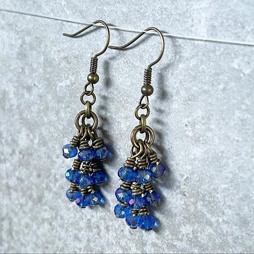 Blue Dazzle Cluster Earrings