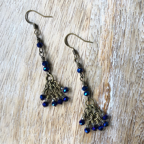 Blue Glass Drop Cluster Earrings